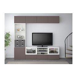 BESTÅ TV storage combination/glass doors, white, Valviken dark brown clear glass - 240x40x230 cm - IKEA