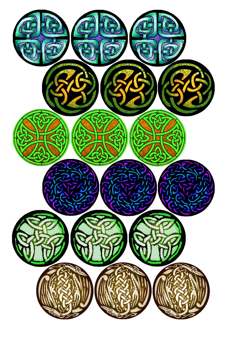 """Celtic Knots #2 Bottle cap image pack Formatted for printing on 4"""" x 6"""" photo paper"""