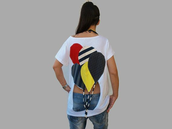 White open back cotton top / women balloons summer top / balloons applique top / gift for her / assymetrical women top / organic cotton top