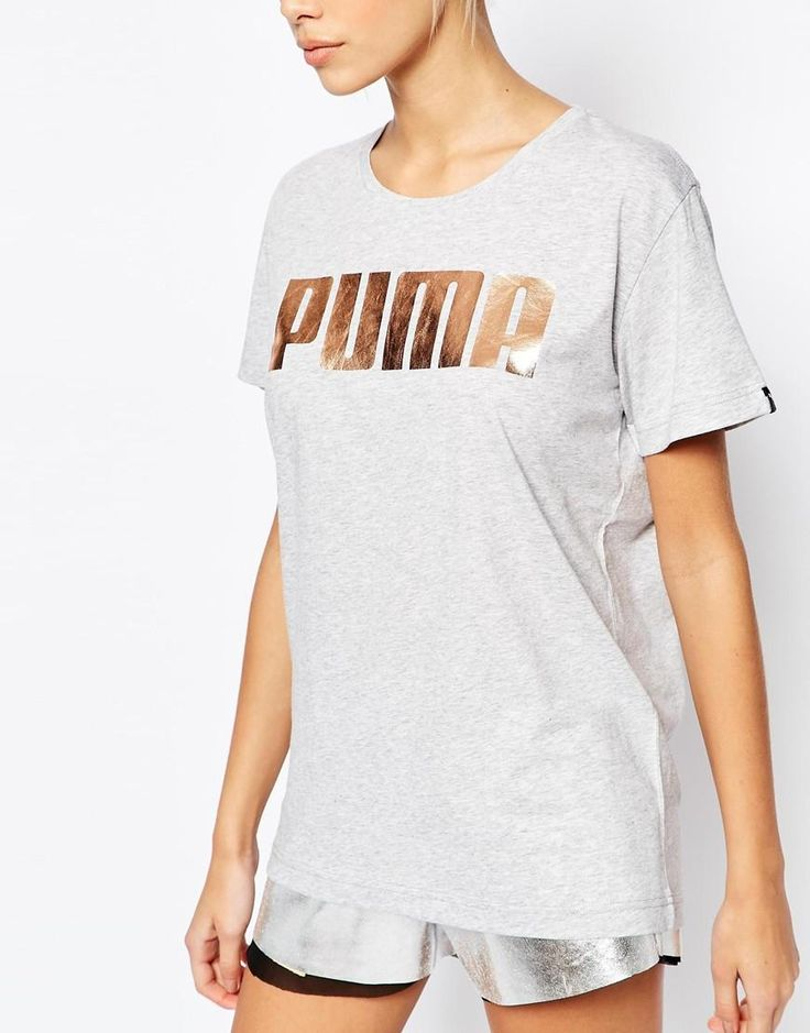 Puma | Puma Oversized Boyfriend T-Shirt With Rose Gold Logo at ASOS