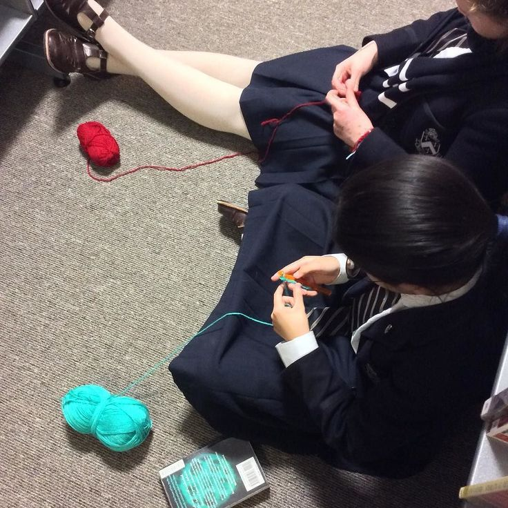 Library aisles are a great place to learn new skills! #crochet #librariesofinstagram #schoollibraries