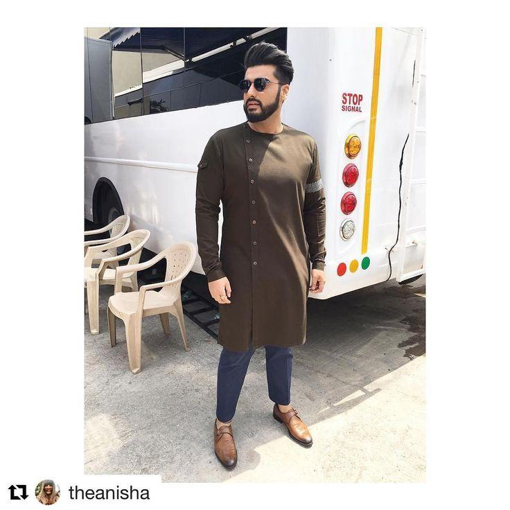 #Repost @theanisha with @repostapp ・・・ @arjunkapoor looking sharp in a custom made @tisastudio kurta and pants, @diorhomme glass