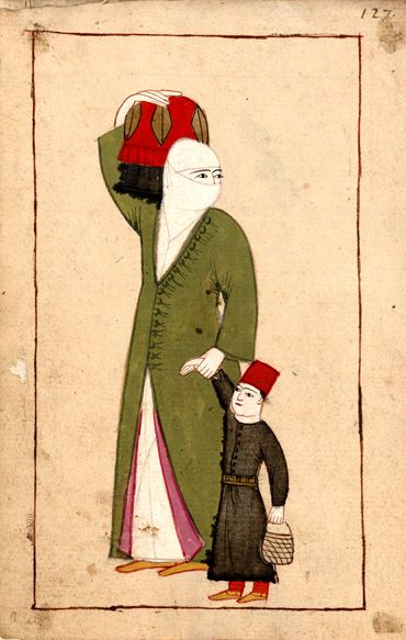 Rålamb Costume Book 127, 1659ish  Woman and boy  on the way to the bath (hammam). She carries a metal vessel covered with red cloth which was used for clean clothes and as a bucket in the bath.