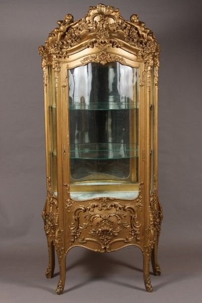 2 louis xv style gilt wood vitrine french early 20th lot 2 antique furniture. Black Bedroom Furniture Sets. Home Design Ideas