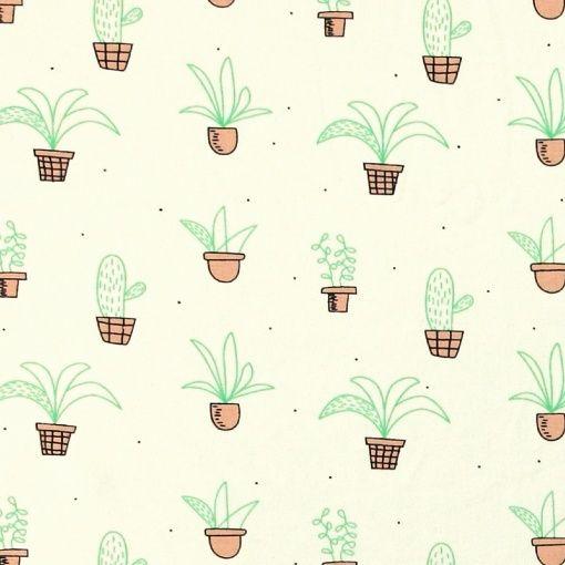 Stretch-Jersey, Natur mit Kaktus - STOFF