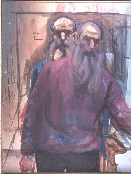 "self portrait-double image • By Raphael Eisenberg 1996 acrylic on canvas 39""x30"""