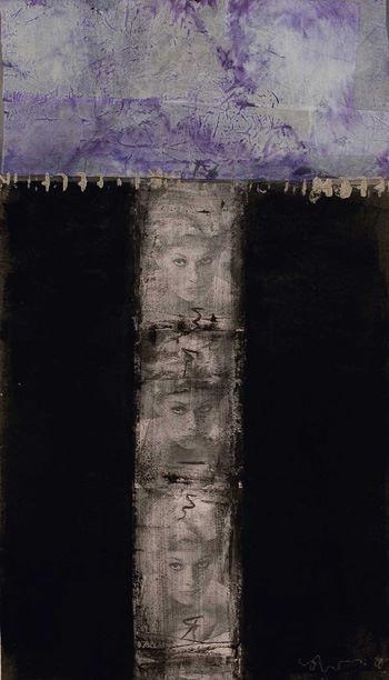 "Uccio Biondi"" MEA KIM"" 2002  Tecnica mista su tavola cm 70x40.( pigm., veline, carte, past., argilla, acril., vinavil su tela)"