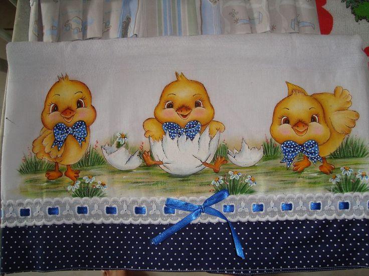 Pintinhos pintura em tecido