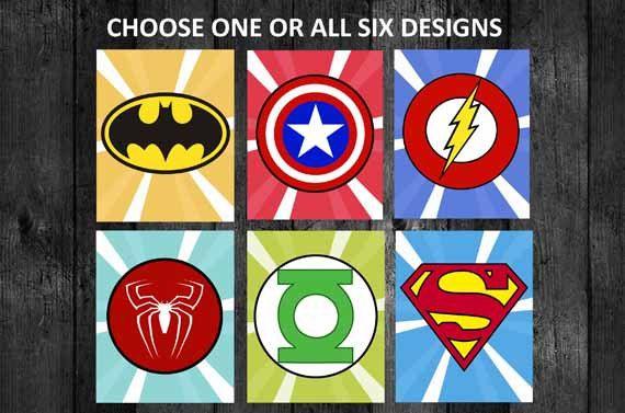 Children S Party Box Wall Art For Girl S Bedroom: 8x10 PRINTABLE Superhero Logo Wall Art Decor By