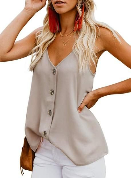 Adjustable Spaghetti Front Button Up Swing Tank Top Sleeveless Shirts