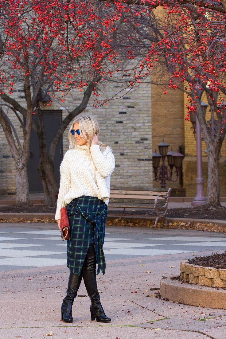 Chunky sweater, plaid skirt, and Highland OTK Boot on The Boyish Girl