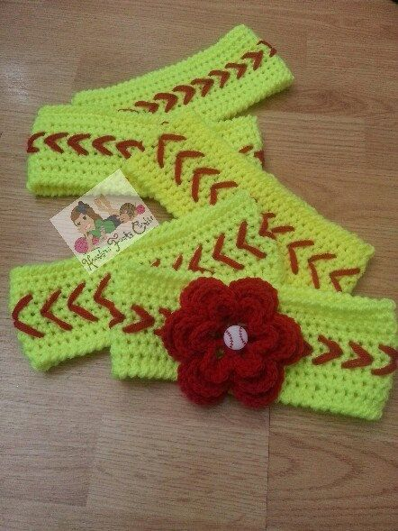 Free Crochet Pattern For Softball Headband : Crochet Softball or Baseball Headband / Ear by ...