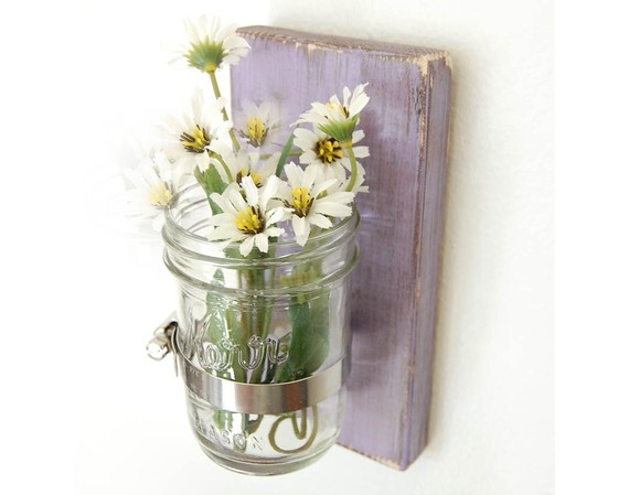 Shabby Chic wooden wall vase home organization by OldNewAgain, $22.00