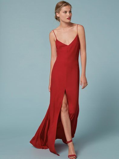 A sexy bridesmaid dress, who knew? This is a floor length dress with a v neckline, spaghetti straps and a high center front slit.