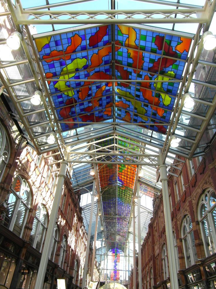 Stained Glass Roof - Victoria Quarter - Leeds. Our tips for things to do in Leeds: http://www.europealacarte.co.uk/blog/2011/10/30/what-to-do-leeds/