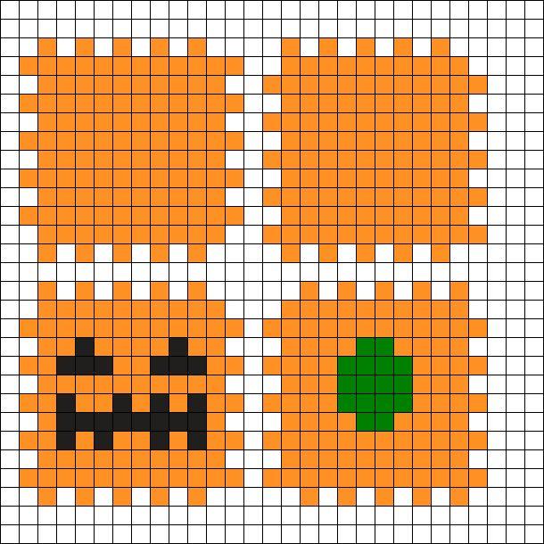 3D Pumpkin Halloween Perler Bead Pattern