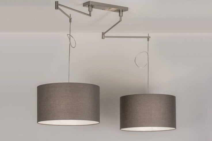 Klik voor webwinkel op deze link : https://www.rietveldlicht.nl/artikel/hanglamp-30679-modern-eigentijds_klassiek-landelijk-rustiek-grijs-taupe-staal_rvs-rond-langwerpig   Verstelbare dubbele pendel voor aan het plafond inclusief stoffen kappen.  De pendel is gemaakt van staal en elke arm is beweegbaar door middel van twee scharnieren. Op deze manier kunt u de kappen altijd naar wens plaatsen, ook als uw lichtpunt niet precies in het midden van de tafel zit.