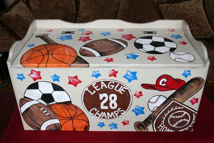 Painted toy box for boy _ sports themed