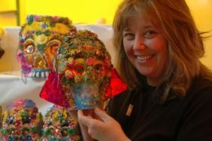Angela with a sugar skull at the Sugar Skull Fair in Toluca Mexico