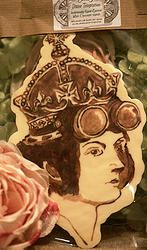 Empire Edibles Royally Adventurous - hand painted in dark chocolate over a white chocolate base.   #Queen Victoria #Steampunk #chocolate #handpainted  www.empireedibles.co.uk