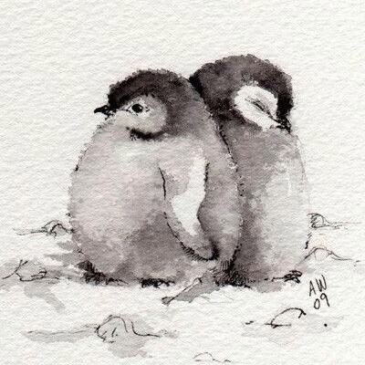 Baby penguins ink illustration