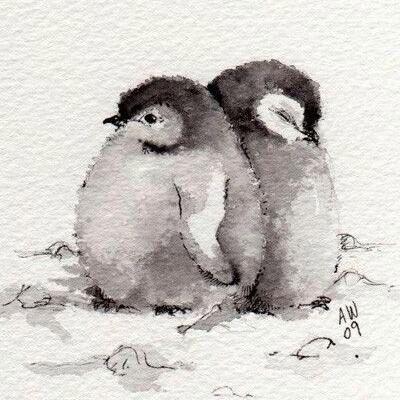 Baby penguins ink illustration