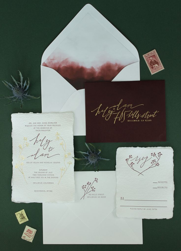 Calligraphy and Watercolor Wedding Invitations