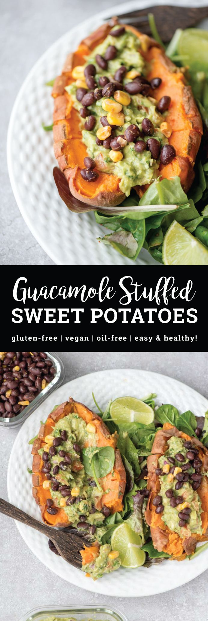These Guacamole Stuffed Sweet Potatoes with Black Beans are healthy, filling, easy to make and taste amazing. Stuff them full of guacamole and any of your other favourite Mexican toppings such as corn, salsa, lentil taco meat and vegan sour cream. Vegan, gluten-free, oil-free, high fibre.