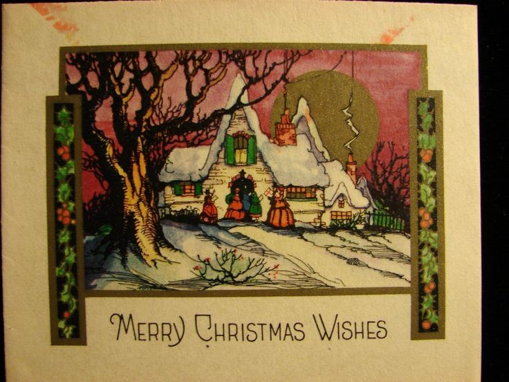"VINTAGE ""A CHRISTMAS HELLO AND GOOD LUCK TO YOU!!"" CHRISTMAS GREETING CARD 