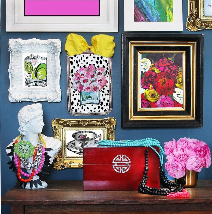 various drooz studio wall art images. decorating a dressing table. Image of très chic. original art roses on black
