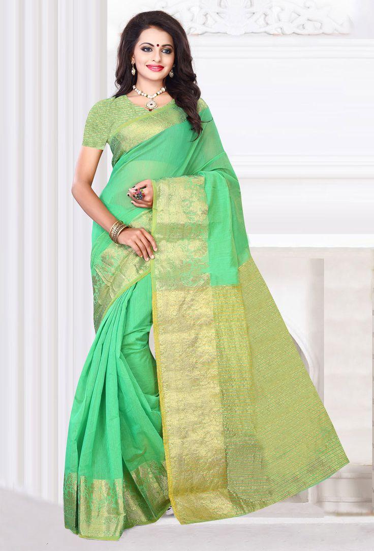 #Green #Cotton #Designer #Saree #nikvik  #usa #designer #australia #canada #freeshipping #dress #saris
