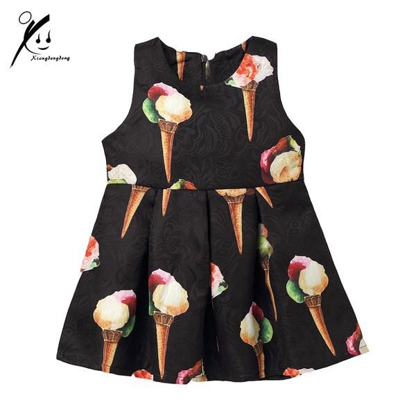3-7 Years Children Dress Baby Girls Ice Cream Pattern Print 2017 Kids Preppy Style Cotton Dresses