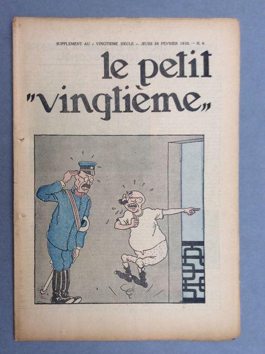 """Kuifje-Le Petit Vingtième (""""de kleine twintigste"""") - 9 B-Original edition (1935)  Zeldzame nummer vanaf donderdag februari 28 1935 met een cover door Hergé in kleur voor """"De Blauwe Lotus"""" die wordt weergegeven onder haar voornaam """"De avonturen van Kuifje in het Verre Oosten"""".Het was niet tot later met Casterman dat Hergé ermee akkoord zijn gegaan deze opmerkelijke avontuur verschijnen onder de naam """"De Blauwe Lotus"""".Zeer goede staat. Geen schimmel. Onbesneden boekje. Opmerking de twee sporen…"""