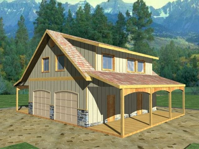Detached garage with bonus room plans barn inspired 4 for Homes with 4 car garages