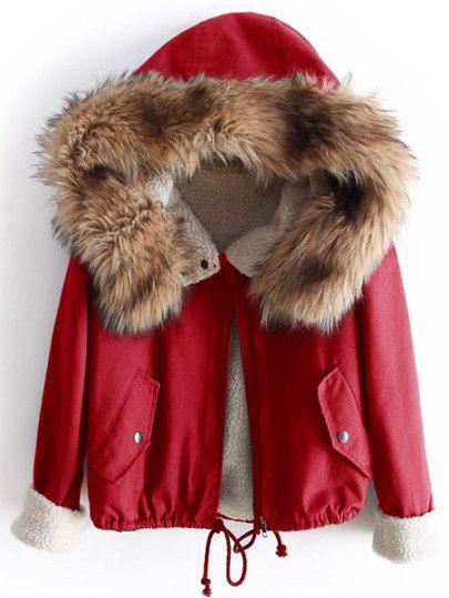 Fleece-Futter-Jacke mit Kunstpelz Saum Kapuzen -rot  Only 21.20€