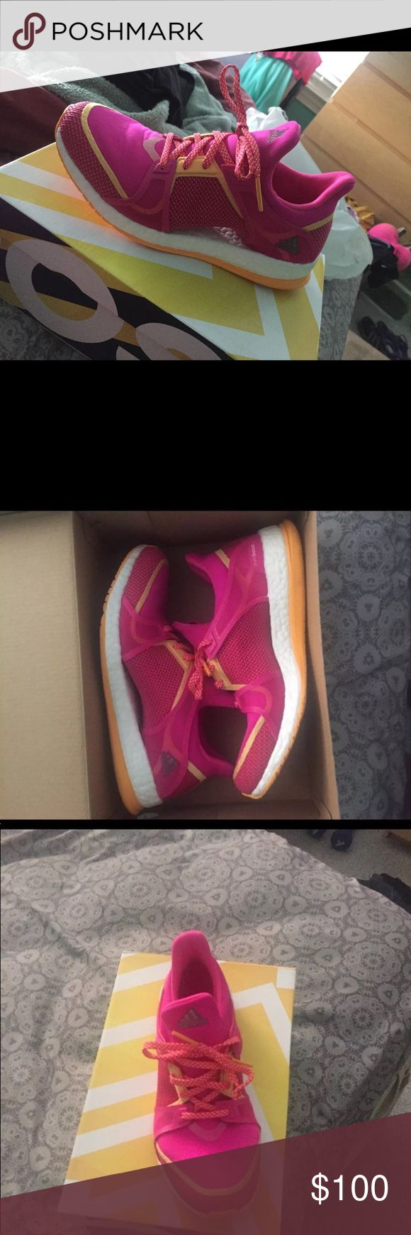Adidas pure boos Adidas Pure Boost Running Shoes (pink and yellow) worn once Size 8 Box available. Will take best offer adidas Shoes Athletic Shoes