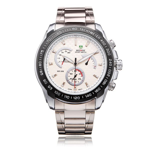 Weide WH1111 Silver Stainless Steel 3 Dial Men Quartz Wrist Watch - US$10.99