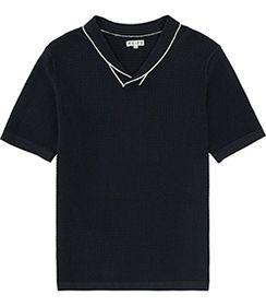 Mens Navy Knitted Shawl Collar T-shirt - Reiss Flight