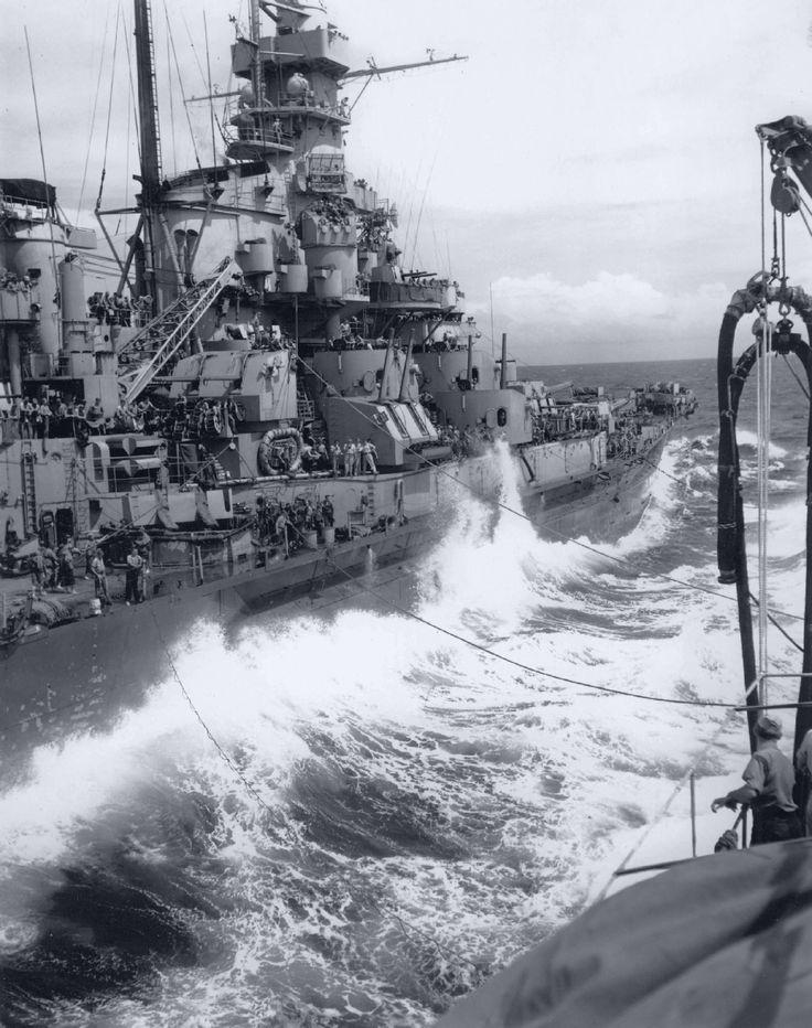 USS Massachusetts being refueled from the tanker USS Kaskaskia, October 1944.