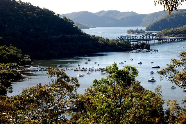 view from Brooklyn of Hawkesbury River & Peats Ferry Bridge, more commonly referred to as Hawkesbury River Bridge