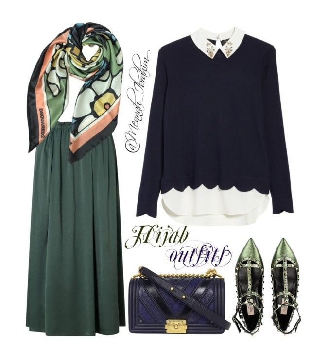 """""""#Hijab_outfits #modesty #Green #Navy"""" by mennah-ibrahim on Polyvore featuring Ted Baker, Dsquared2, Valentino and Chanel"""