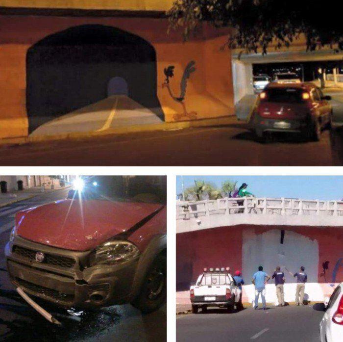 Cet artiste rejoue le gag de Bip Bip et le Coyote avec le graffiti d'un faux tunnel sur un mur... Difficile de ne pas tomber dans le piège !