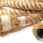 Lampen van manilla touw / scheepstouw. Met afgebonden fitting, zo zie je enkel het touw!  Touwlamp, maritiem, touw, manilla, vlas, verlichting, hanglamp.