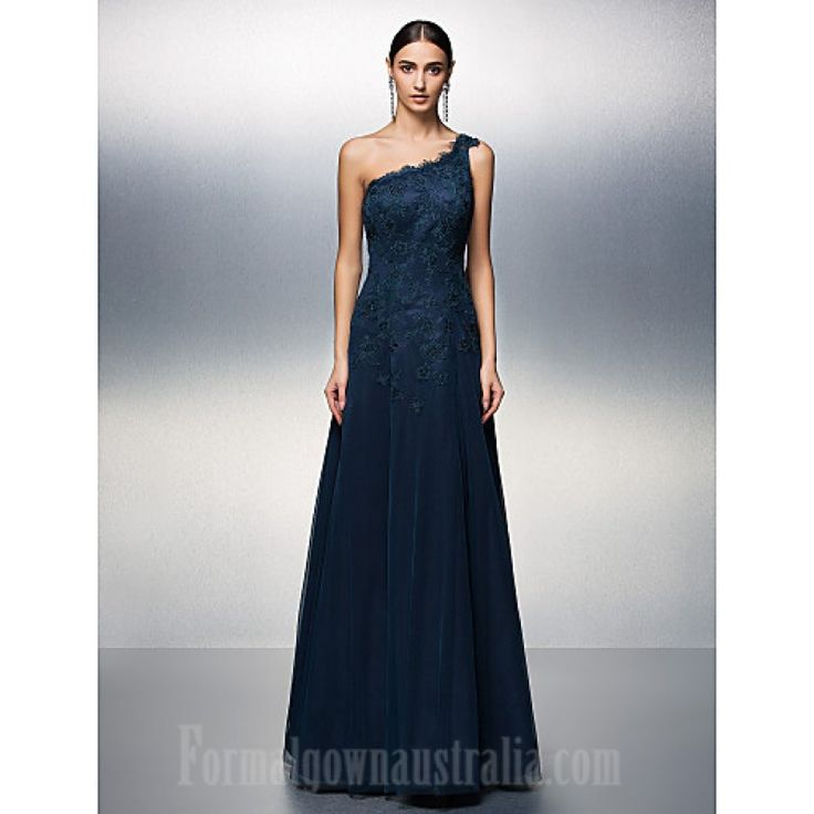 Prom Gowns Australia Formal Evening Dress Dark Navy Plus Sizes Dresses Petite A-line Sexy One Shoulder Long Floor-length Tulle Dress Formal Dress Australia