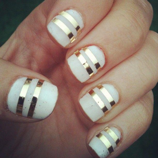 Gold Striping Tape Nail Art: Holiday Nails: White + Gold Stripes