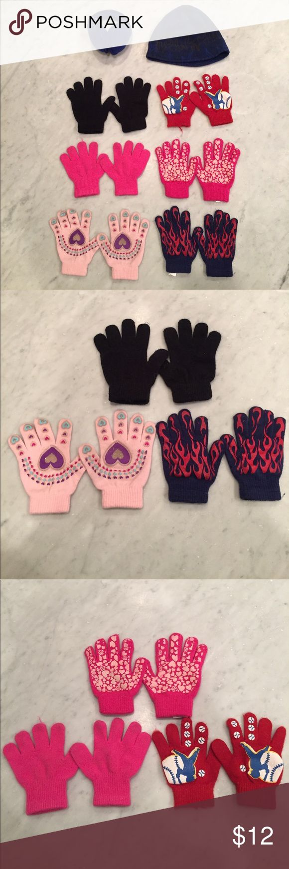 lot of childrens winter gloves, a hat, & ear muffs 6 pairs of childrens gloves, a child sized hat, and child sized gloves. Worn but in good condition. The pink gloves show the most wear. Accessories Mittens