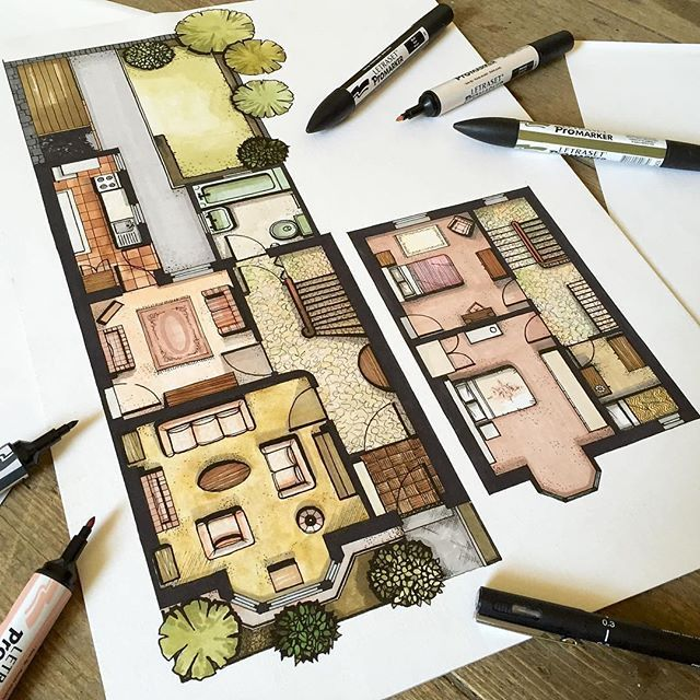 It's always great to find new talented artists on Instagram (via @sketchmuseum)! Here's a lovely floor plan rendering by Art and Design lecturer from Aberdeen, Scotland - Malcolm Begg @designsixtynine Note: this is an existing floor plan, not his designed version ▪️ For a chance to be featured tag #ArchiSketcher