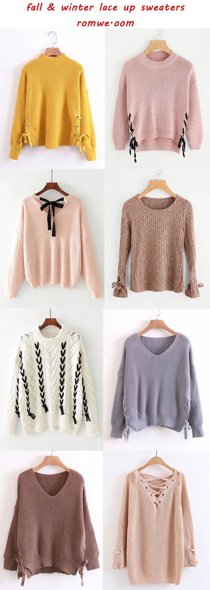 cute & cozy lace up sweaters  - romwe.com