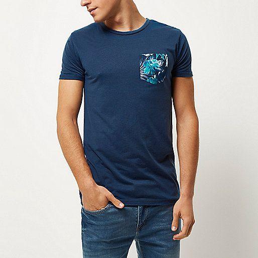 Dark blue chest print T-shirt