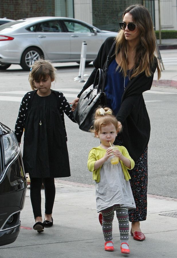 Honor Alba wears 'Incy Kitty Flats' from the Incy collection of little shoes for little girls, out and about with her mother, Jessica Alba.  Discover Online: http://uk.charlotteolympia.com/collections/incy/